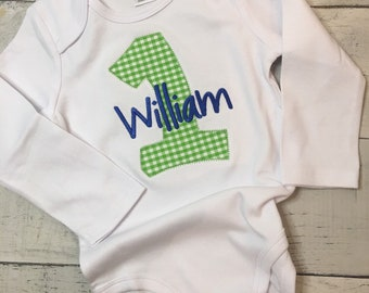 First Birthday Shirt Number Personalized Monogrammed Applique Boys Girls