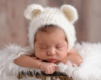6ba97e78238 Bear Bonnet  White Bear Bonnet  Baby Shower Gift  Gender Neutral Hat   Crochet Bear Hat  Newborn Photo Prop  Baby Boy Hat  Baby Girl Hat