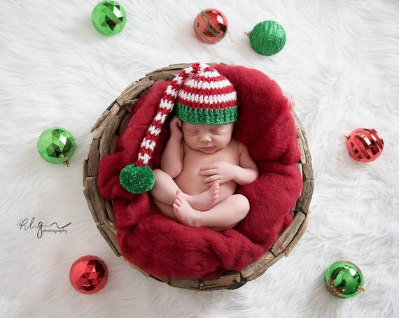Newborn Christmas Pictures.Newborn Christmas Hat Crochet Stocking Cap Baby Boy Prop Baby Girl Prop Newborn Pixie Hat Baby Elf Hat 2 Week Turn Around Newborn Baby