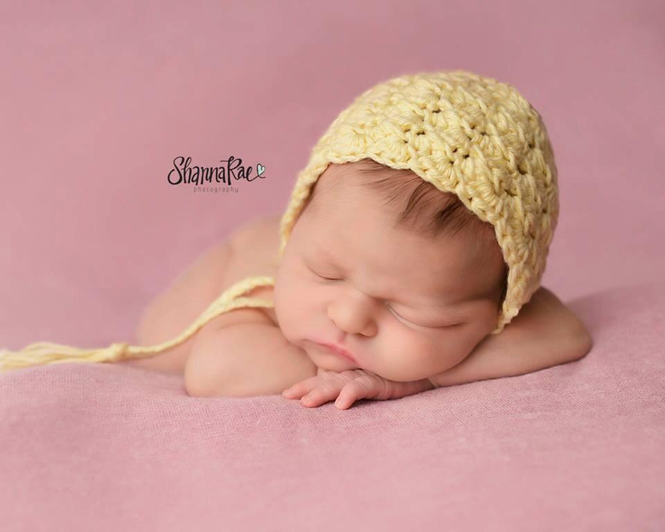 Yellow Baby Bonnet  Crochet Newborn Bonnet  Baby Girl  62f7dd02409