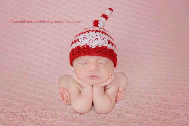 Newborn Top Knot Valentines Beanie  Baby Girl Hat XOXO  6273aac6442