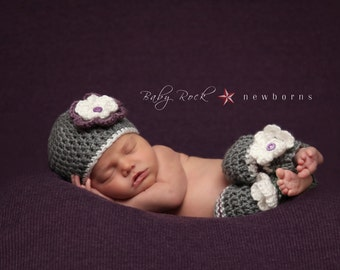 Baby Girl Prop/Newborn Legwarmers and Beanie Hat with Flower/ Grey Purple and White Newborn Prop/Newborn Legwarmers