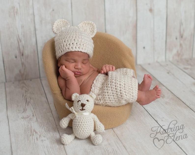 54d1441298b Baby Bear Bonnet and Shorts  Newborn Photo Prop  Baby Boy