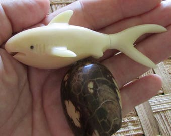 Shark Carving, Tagua Nut, EcoBeads
