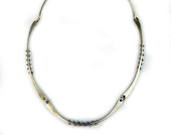Sterling Silver Linked and Riveted Necklace