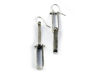 Sterling Silver Hanmade Chain Link Drop Earrings with Light Antique