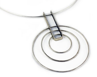 Stering Silver Graduated Circles Large Pendant On a Neck Wire