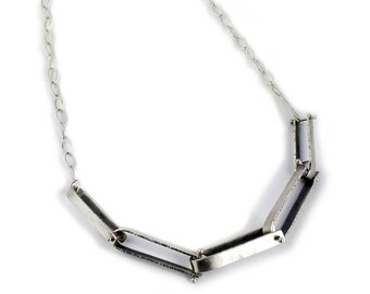 Sterling Silver Hanmade Chain Link Necklace with Light Antique