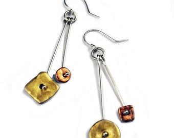 Tri Color Sterling Drop Earrings