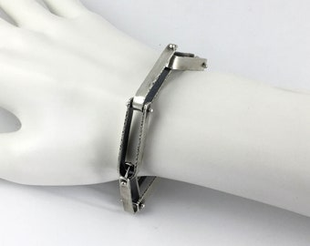 Sterling Silver Hanmade Chain Link Bracelet with Light Antique