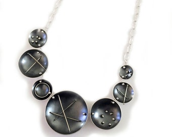 Sterling Silver Statement Necklace withLight and Dark Patina Finish and Wire and Rivet Details, Adjustable Length