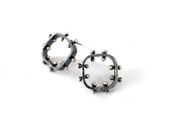 Dark Sterling Soft Square Post Earrings with Rivets