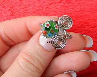 Adjustable Wire Wrapped Ring With Round Floral Print Stone