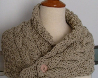 Cowl Chunky Neck Warmer Scarf Beige Handknit Cabled Warm  Thick and Soft SALE