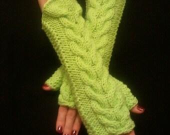 Fingerless Gloves Wrist Warmers Light Green Cabled Soft