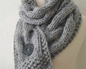 Scarf  Chunky Cowl Grey Extra Thick Cabled Knit