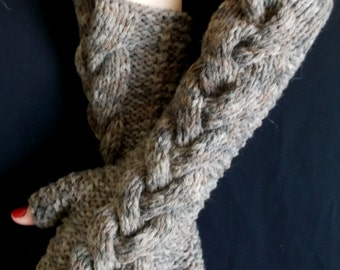 Knit Fingerless Gloves Brown Camel Cabled Warm Chunky Women Winter Accessory