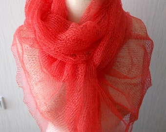 Linen Scarf Knit Shawl  Natural Summer Wrap in Coral Red Women Accessory