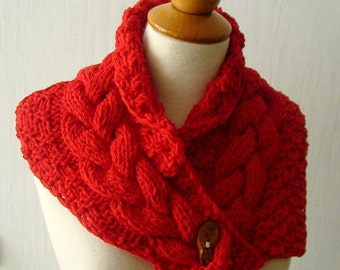 Acrylic Cowl Neck Warmer Scarf in Red Handknit Cabled  with a Wooden Button SALE