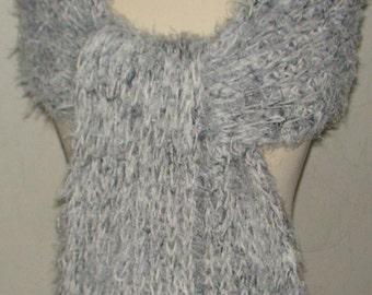 Scarf Light Grey / Volume Shawl with Rich Fringes, Extra Long Clearance Sale