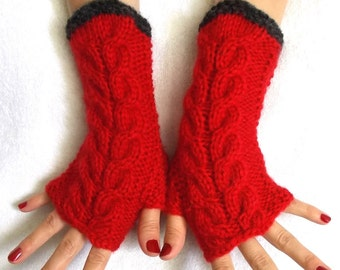 Fingerless Gloves, Cabled, Warm, Wrist Warmers, Red, Grey, Fingerless Mittens
