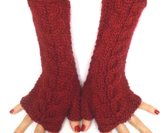 Handknit Fingerless Gloves Wrist Warmers Cranberry Red Soft Cabled