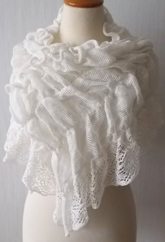 Natural Crinkled in Shawl Knit Linen Capelet Flax Summer White Wrap Wedding Scarf YTpdqwvd