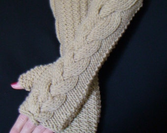 Fingerless Gloves/ Wrist Warmers Light Brown/ Beige Cabled Hand Knitted Soft and Long
