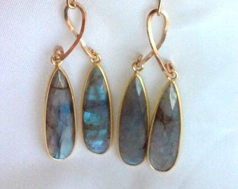 14K Gold Fill Labradorite Drop Earrings