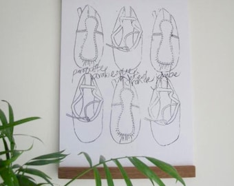 Ballet Shoes A4 Monochrome Print