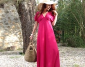 1970s PINK Magenta maxi dress butterfly sleeves