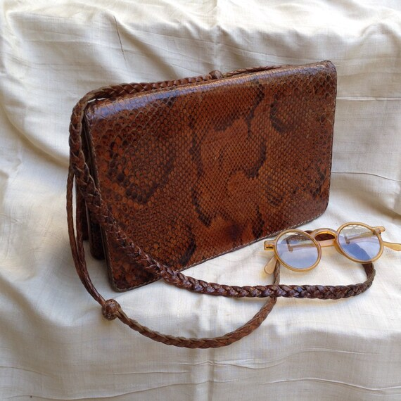 French VTG 1940s natural snakeskin / reptile leath
