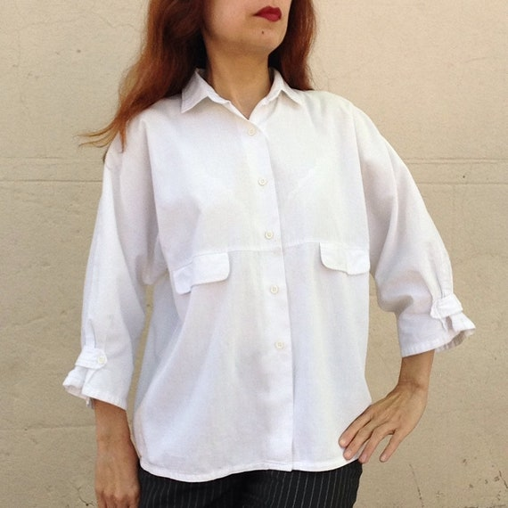 French Vintage white cotton Shirt