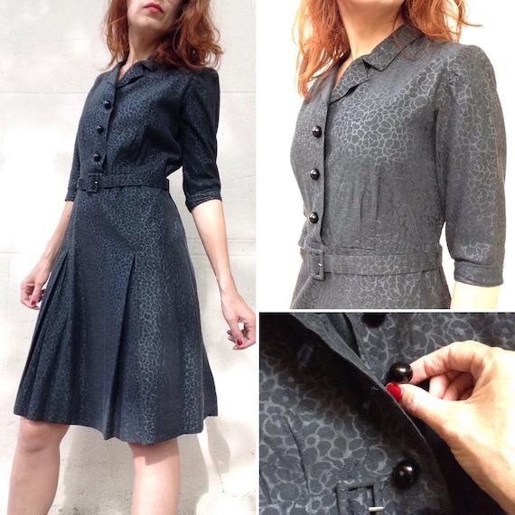 French 1940s 1950s black deco ROSES silk cotton ci