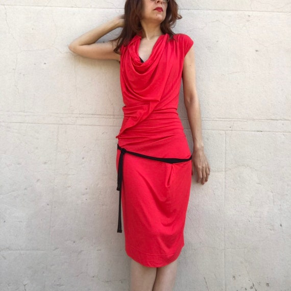 Vivienne WESTWOOD 1990s red jersey pleated wrap g… - image 1