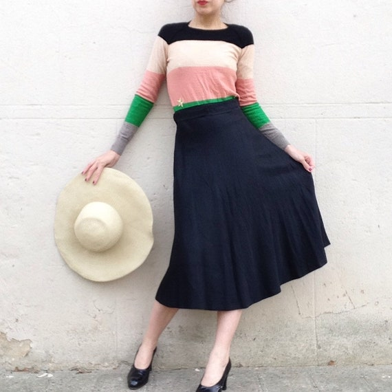 French VTG 1950s black silk circle skirt Sz S