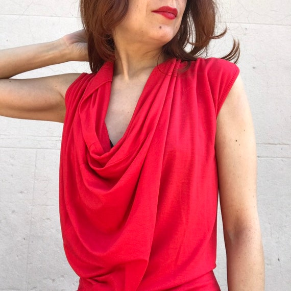 Vivienne WESTWOOD 1990s red jersey pleated wrap g… - image 3