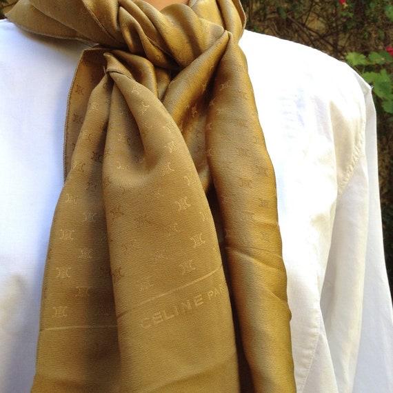 CELINE Paris VTG 1970s womens silk scarf / monogra