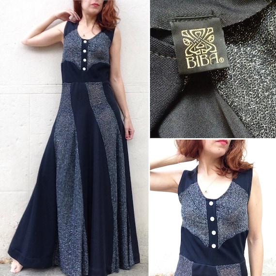 BIBA 1970s maxi black and silver lame dress sz S