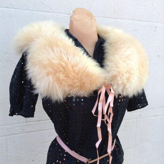 1930s sheepskin fur peach  boa scarf