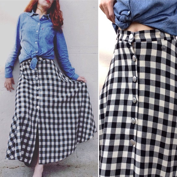 1980s does 50s plaid full circle skirt