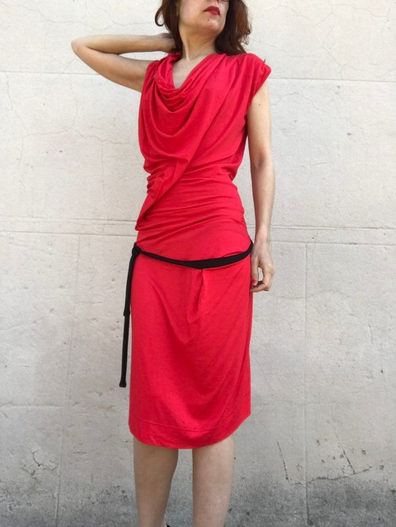 Vivienne WESTWOOD 1990s red jersey pleated wrap g… - image 9