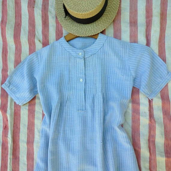 French peasant worker chore dress old denim chambr