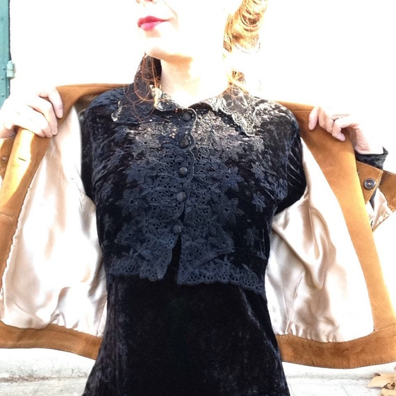 1970s french BOHEMIAN black velvet maxi dress