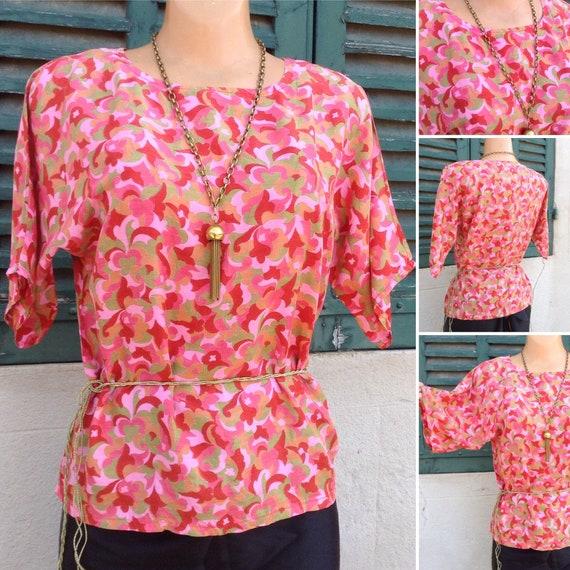 1920s Art Deco print silk blouse