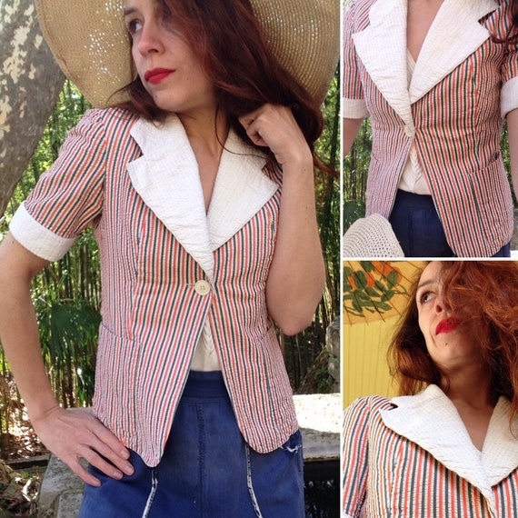 1940s blue red white stripes jacket size Small