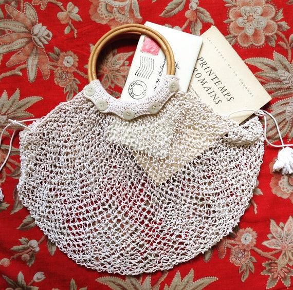 1920s Parisian fishnet crochet cotton hand bag
