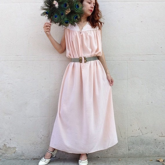 French 1970s does 1930s French pink silk gown roma