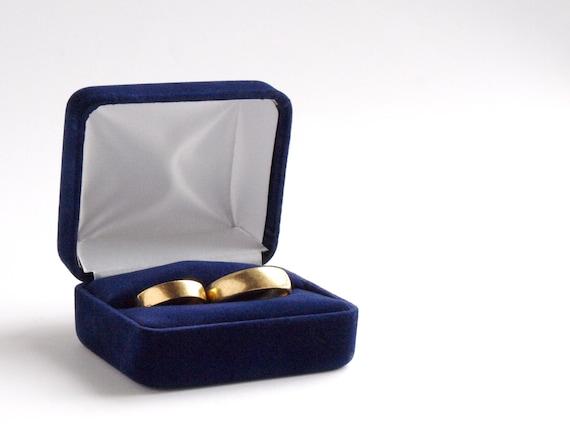 Blau Samt Double Ring Box Hochzeit Ring Kasten Fur Zwei Etsy