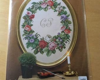 Pink Flowers In Bowl~counted cross stitch pattern #1869~Floral Garden Chart
